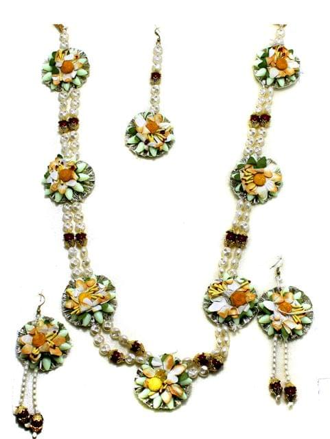 Gotta Patti Necklace Set with Maang Tikka, Earrings, Ring and Bangle Yellow