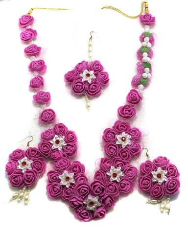 Gotta Patti Necklace Set with Maang Tikka, Earrings, Ring and Bangle Multicolor