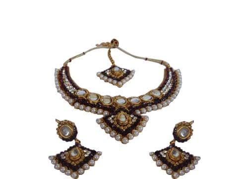 Purple Set earrings Mangtikka� Kundan Copper Metal