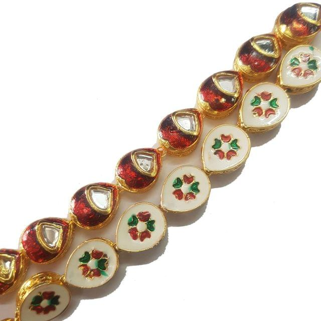 1 String of Kundan Kadi Drop Red 12x15 mm