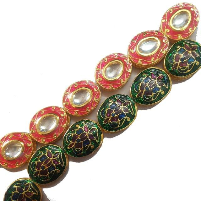Dark pink, 1 String of Kundan Kadi Oval 18x21mm