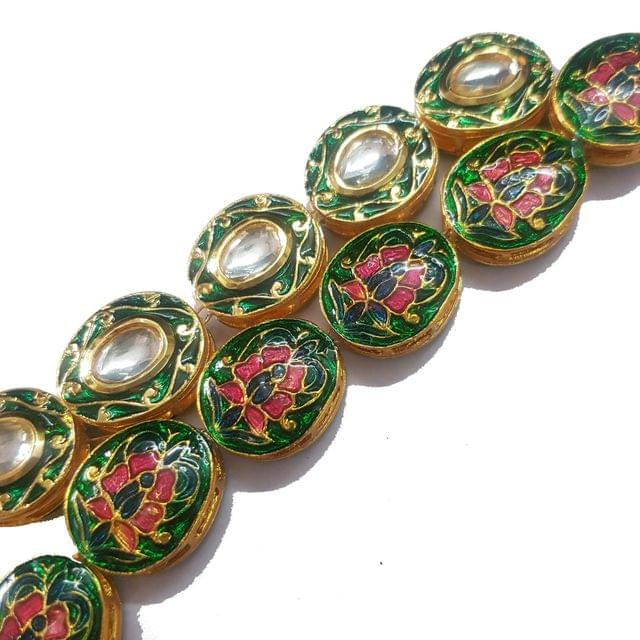 Green, 1 String of Kundan Kadi Oval 18x21mm