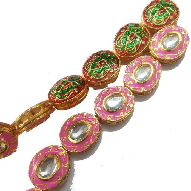 Pink, 1 String of Kundan Kadi Oval 18x21mm