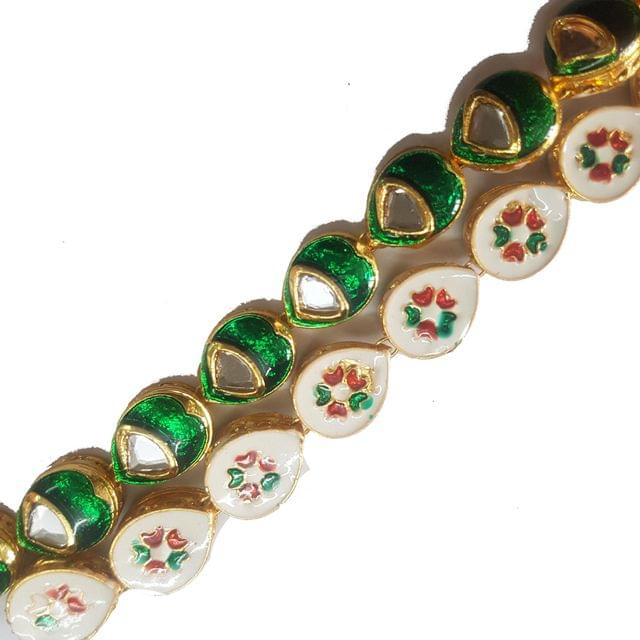 1 String of Kundan Kadi Green 12x15 mm