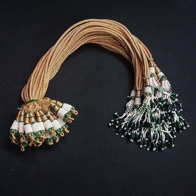 1 Dozen, 12 Inch Double Layer Green Colour Necklace Dori (Sarafa)