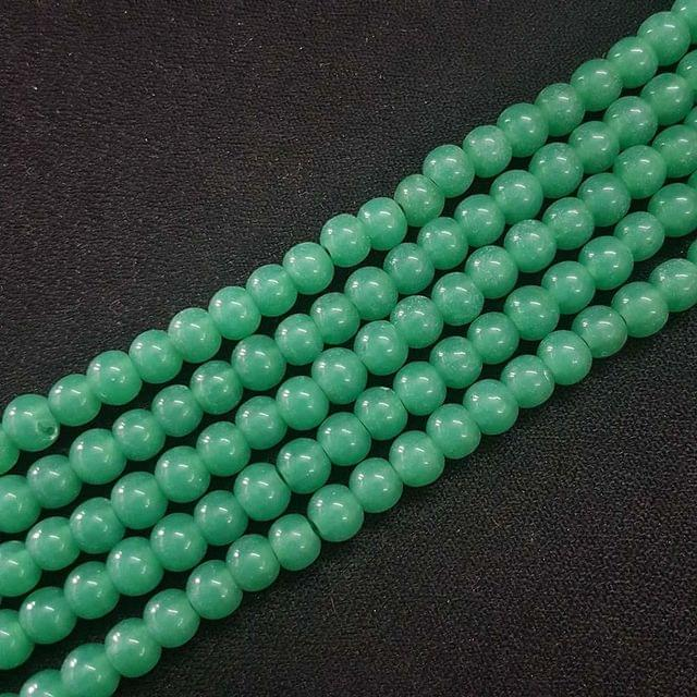 6mm, Sea Green Round Shape Beads, 4 Strings, 68+ Beads In Each String, 15 Inches