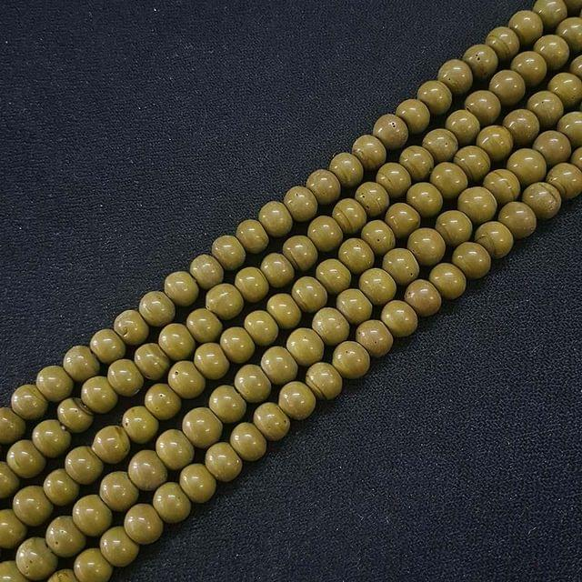 6mm, Olive Color Round Shape Beads, 4 Strings, 68+ Beads In Each String, 15 Inches