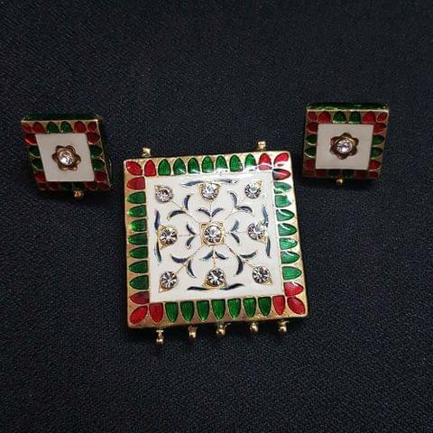 Traditional White Meenakari Pendant With Combo Earring, Pendant- 1.75 inch, Earring- 0.75 inch