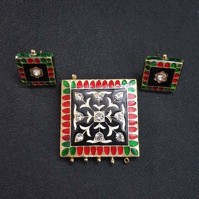 Traditional Black Meenakari Pendant With Combo Earring, Pendant- 1.75 inch, Earring- 0.75 inch