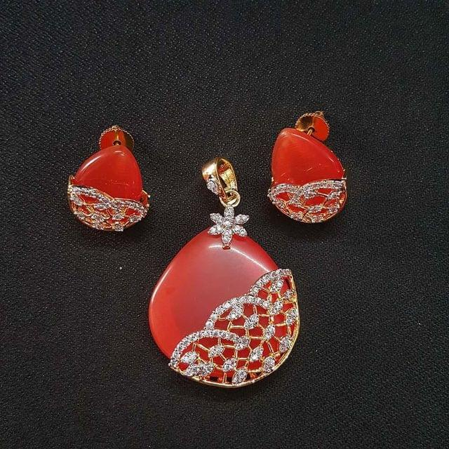 Orange AD Pendant , Pendant - 2.25 Inch, Earring - 1 Inch