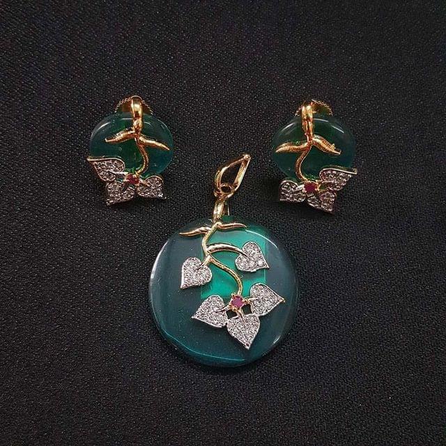 Sea Green AD Pendant , Pendant - 1.75 Inch, Earring - 0.75 Inch
