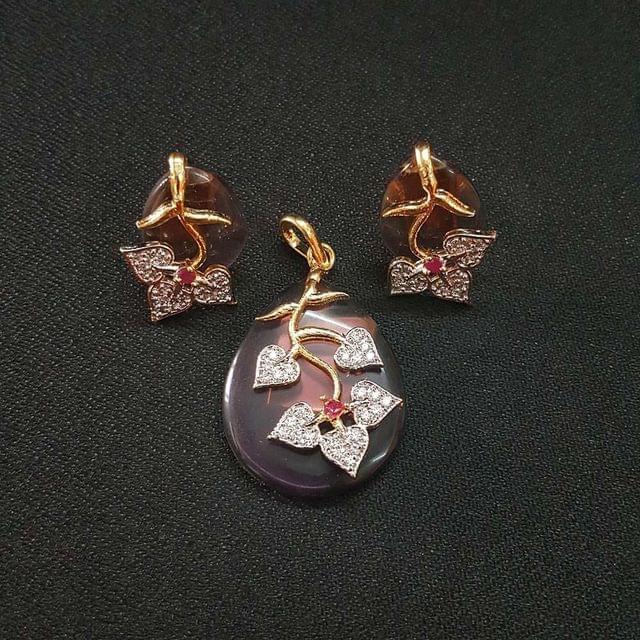 Purple AD Pendant By KTC, Pendant - 1.75 Inch, Earring - 0.75 Inch