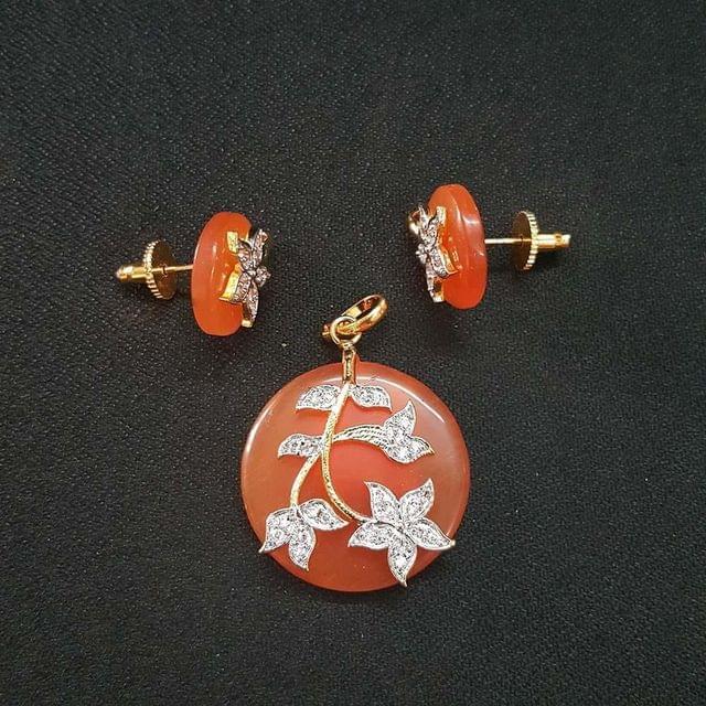 Orange AD Pendant , Pendant - 1.75 Inch, Earring - 0.75 Inch