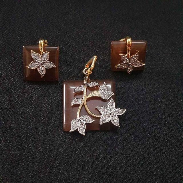 Brown AD Pendant By KTC, Pendant - 1.5 Inch, Earring - 0.75 Inch