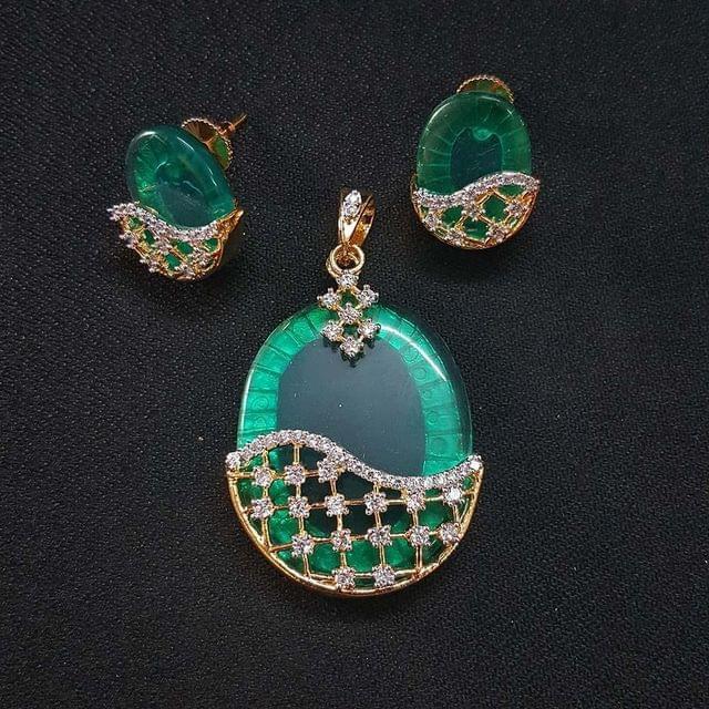 Green AD Pendant By KTC, Pendant - 2.25 Inch, Earring - 1 Inch