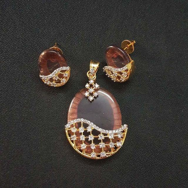 Brown AD Pendant , Pendant - 2.25 Inch, Earring - 1 Inch