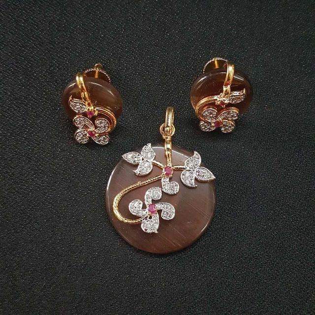 Brown AD Pendant By KTC, Pendant - 1.75 Inch, Earring - 0.75 Inch