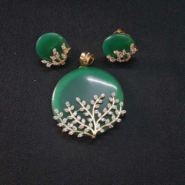 Green AD Pendant , Pendant - 2 Inch, Earring - 0.75 Inch