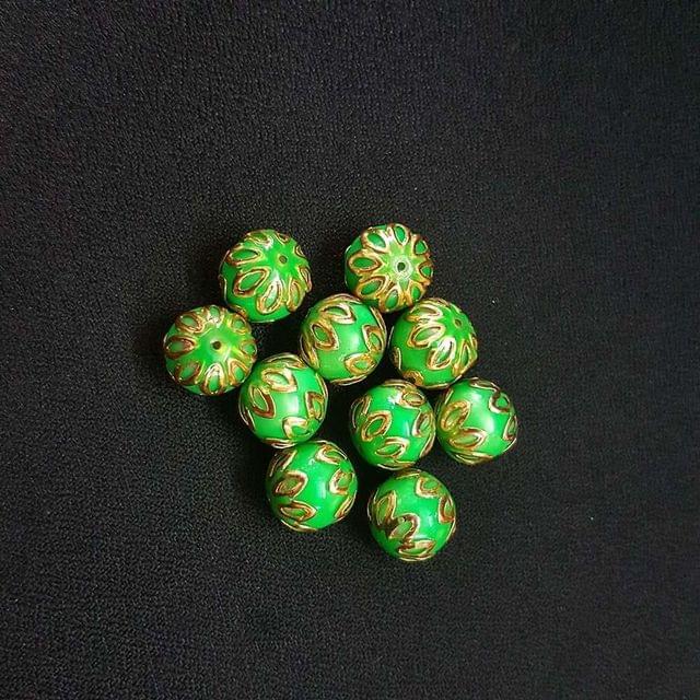 20 pcs, Parrot Green Color Meenakari Beads, 12mm