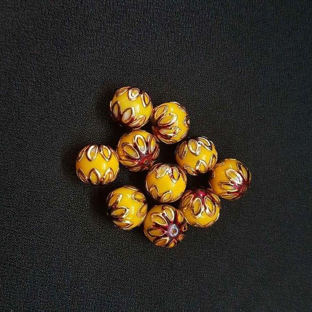 20 pcs, Yellow Maroon Color Meenakari Beads, 12mm