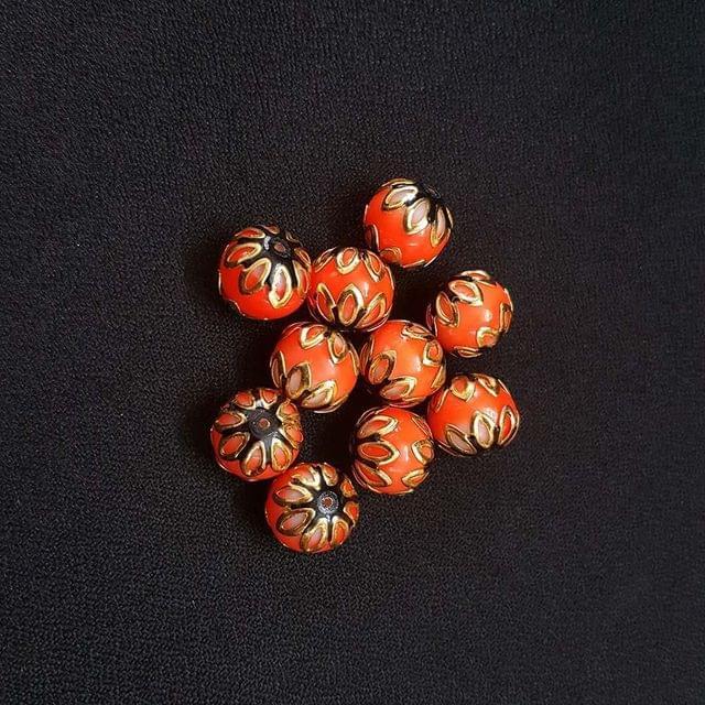 20 pcs, Orange Black Color Meenakari Beads, 12mm