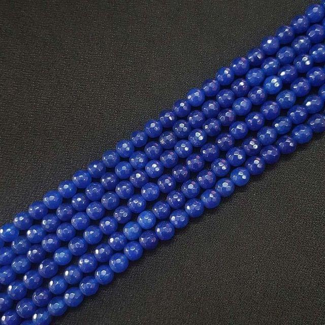 6mm, Dark Blue Onyx Round Faceted Strings, 60+ Beads In Each Line, 15 Inch