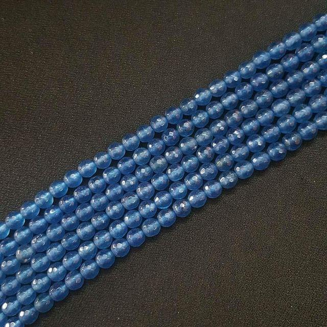 6mm, Blue Onyx Round Faceted Strings, 60+ Beads In Each Line, 15 Inch