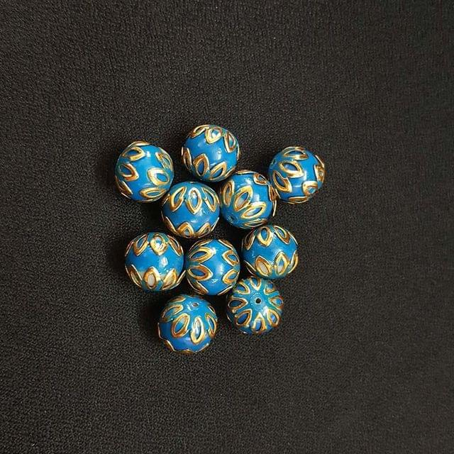 20 pcs, Turquoise Color Meenakari Beads, 12mm