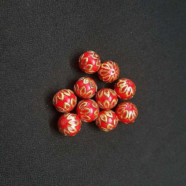 20 pcs, Red Color Meenakari Beads, 12mm