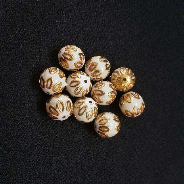 20 pcs, White Color Meenakari Beads, 12mm