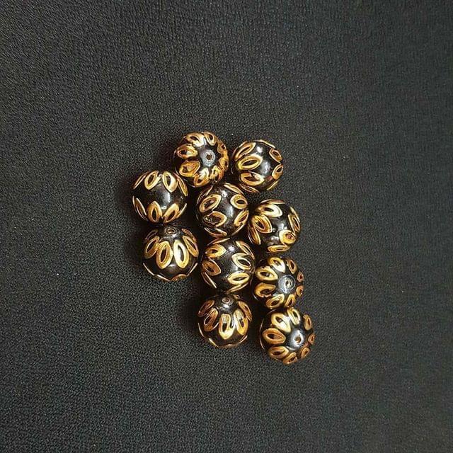 20 pcs, Black Color Meenakari Beads, 12mm