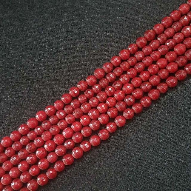 6mm, Red Onyx Round Faceted Strings, 60+ Beads In Each Line, 15 Inch