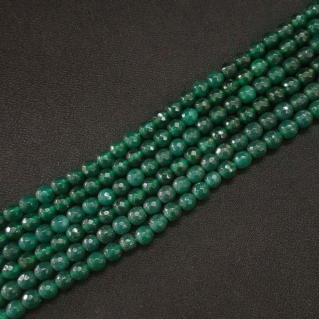 6mm, Green Onyx Round Faceted Strings, 60+ Beads In Each Line, 15 Inch