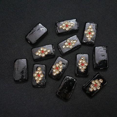 Black, Rectangle Kundan Beads 25 x 15mm, 20 Pieces