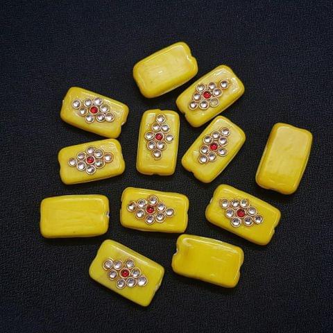 Yellow, Rectangle Kundan Beads 25 x 15mm, 20 Pieces