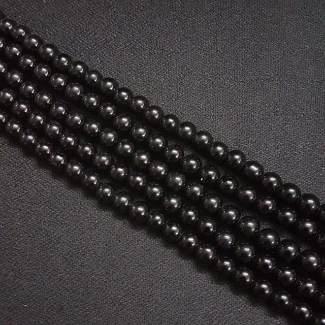 5 Lines, 6mm Black Color Glass Beads For Jewellery Making/ 16 Inch/ 70+ Beads in Each String