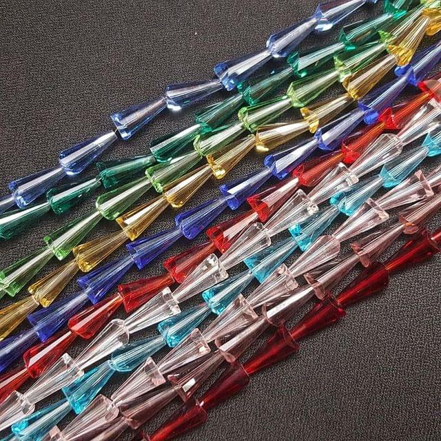 KTC, 11 Coloured Glass Lines, 15x8 mm, 48+ Beads In Each Line