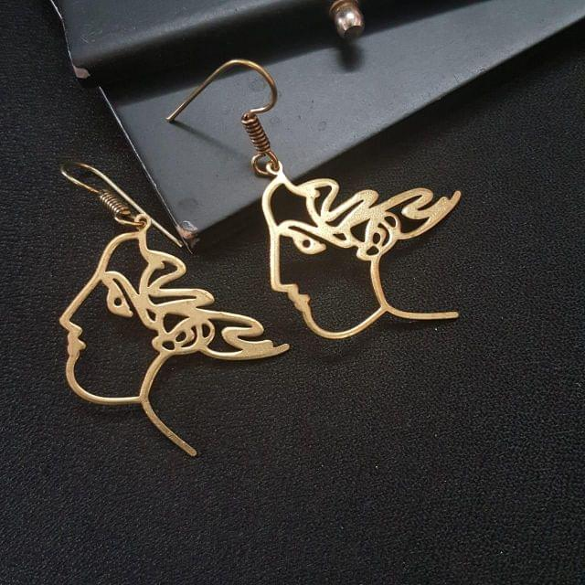 Women And Girl Face Earring, Art Deco Jewellery, Abstract Face Earring