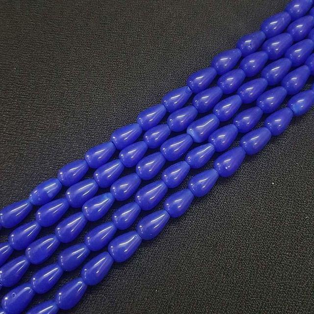 6x10mm Dark Blue Drop Shape Beads, 5 Strings, 42+ Beads In Each String, 15 Inches