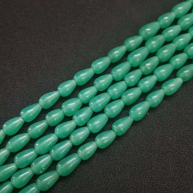 6x10mm Green Drop Shape Beads, 5 Strings, 42+ Beads In Each String, 15 Inches