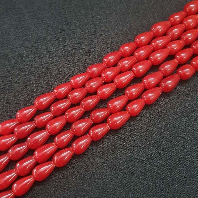 6x10mm Red Drop Shape Beads, 5 Strings, 42+ Beads In Each String, 15 Inches