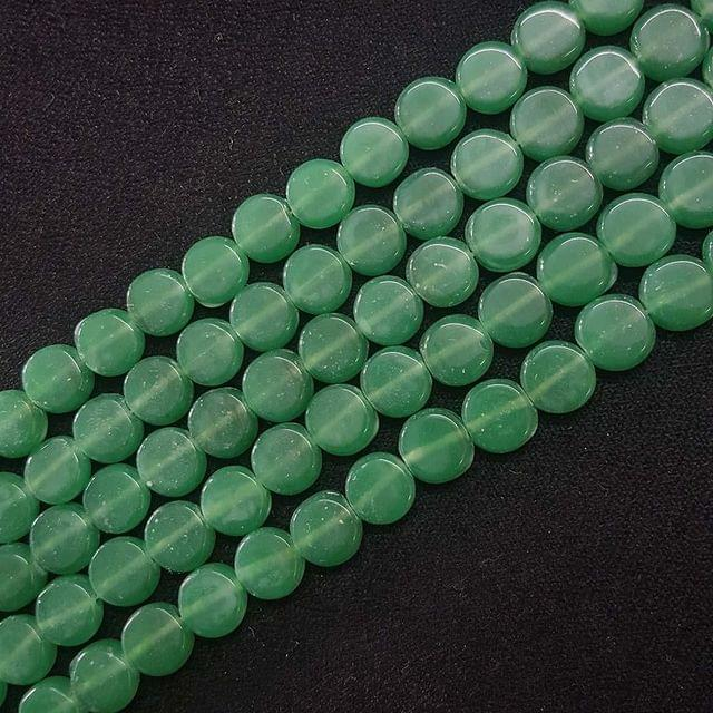 8mm, Green Flat Round Shape Beads, 4 Strings, 40+ Beads In Each String, 15 Inches