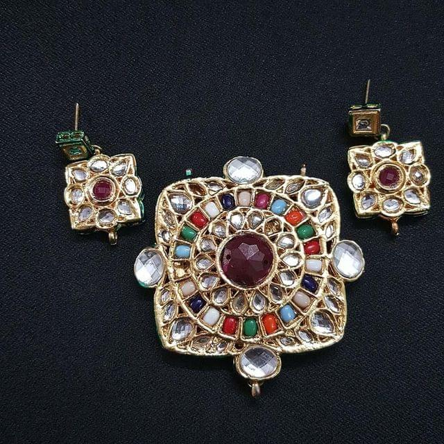 Traditional Square Shape Kundan Pendant With Combo Earring, Pendant- 2.75 inch, Earring- 1.5 inch