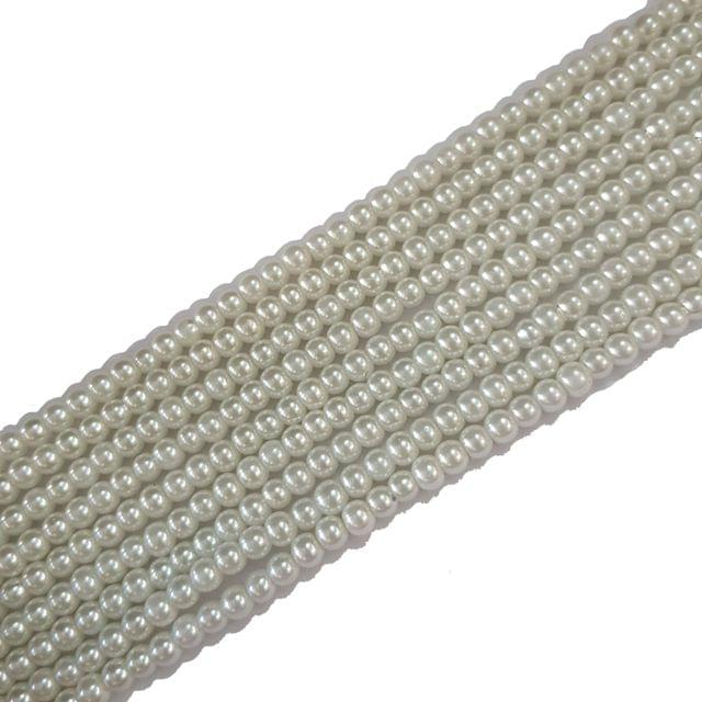 4mm, Glass Pearl String For Jewellery Making, 225+ Beads In Each Line , 5 Lines