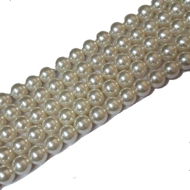 Glass Pearl Beads Cream 12 mm, Pack Of 5 String, Each String Has 70+ Beads