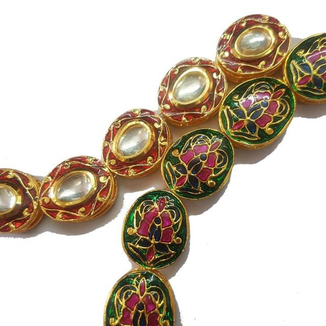 Red, 1 String of Kundan Kadi Oval 18x21mm