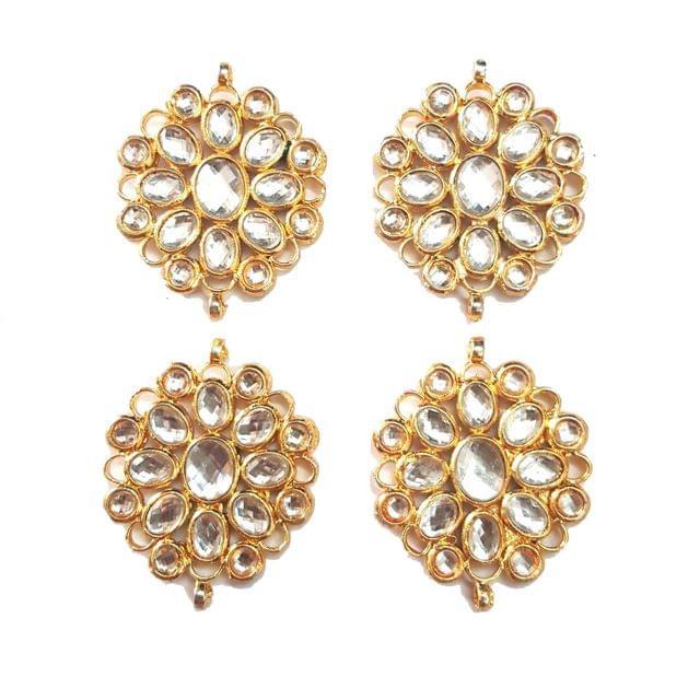 4-pcs-Kundan Beads Golden Spacers 45x36mm