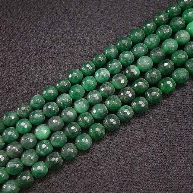 10mm, Dark Green Onyx Stone Strings, Pack Of 2 Lines, 15 Inches ( 37+ beads )