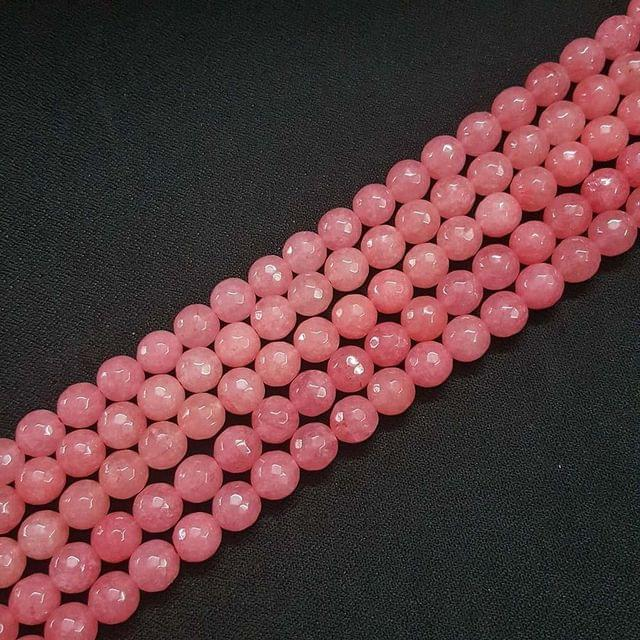 10mm, Light Pink Onyx Stone Strings, Pack Of 2 Lines, 15 Inches ( 37+ beads )
