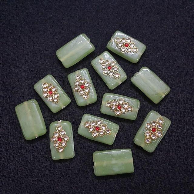 Sea Green , Rectangle Kundan Beads 25 x 15mm, 20 Pieces